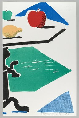 David Hockney (British, born 1937). <em>Apples, Grapes, Lemon on a Table (for BAM)</em>, 1988. Homemade print using Toshiba and Canon copiers on Arches paper, 14 x 17 in. (35.6 x 43.2 cm). Brooklyn Museum, Gift of Cheryl and Henry Welt, 1990.238.3a-b. © artist or artist's estate (Photo: Brooklyn Museum, 1990.238.3b_PS4.jpg)