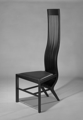 "Isozaki Arata (Japanese, born 1931). <em>""Monroe"" Side Chair</em>, ca. 1983. Birch wood, imitation black leather, 55 1/16 x 21 3/16 x 21 3/32 in. Brooklyn Museum, Gift of the James Corcoran Gallery, 1990.2. Creative Commons-BY (Photo: Brooklyn Museum, 1990.2_bw.jpg)"