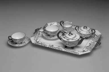 Josiah Wedgwood & Sons Ltd. (founded 1759). <em>Cup and Saucer</em>, 1879-1931. Porcelain, Cup: 7/8 x 4 1/4 x 3 1/2 in. Brooklyn Museum, Gift of Mrs. William R. Liberman, 1990.31.5a-b. Creative Commons-BY (Photo: , 1990.31.1a-b-.7a-b_bw.jpg)