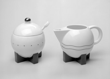 Michael Graves (American, 1934-2015). <em>Sugar Bowl with Lid and Spoon</em>, Designed 1987; Manufactured 1989-1990. Porcelain, Sugar Bowl with Lid (a & b): 4 3/8 x 3 1/2 x 3 1/2 in. (11.1 x 8.9 x 8.9 cm). Brooklyn Museum, Gift of Swid Powell, 1990.34.3a-c. Creative Commons-BY (Photo: , 1990.34.2_1990.34.3a-c_bw.jpg)