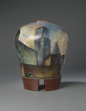 Lidya Buzio (American, born Uruguay, 1948-2014). <em>Roofscape</em>, 1987. Ceramic, Height: 17 3/4 in. Brooklyn Museum, Purchased with funds given by Mrs. Carl L. Selden and Caroline A.L. Pratt Fund, 1990.44. © artist or artist's estate (Photo: Brooklyn Museum, 1990.44_side1_PS2.jpg)