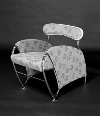 "Massimo Iosa Ghini (Italian, born 1959). <em>""Numero Uno"" Armchair</em>, ca. 1989. Chromed plated steel, textile, ash, metal springs, plastic, felt, Velcro, 30 5/16 x 26 3/16 x 31 7/8in. (77 x 66.5 x 81cm). Brooklyn Museum, Gift of Palazzetti Inc., 1990.4. Creative Commons-BY (Photo: Brooklyn Museum, 1990.4_bw.jpg)"