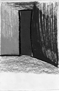 Fargo Deborah Whitman (American, born 1953). <em>Red Door</em>, 1988. Charcoal and oil graphite on paper, unframed: 6 x 4 in. (15.2 x 10.2 cm). Brooklyn Museum, Purchase gift of an anonymous donor, 1990.54. © artist or artist's estate (Photo: Brooklyn Museum, 1990.54_bw.jpg)