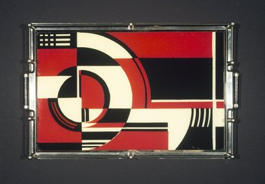 American. <em>Tray</em>, ca. 1935. Chromed metal, painted glass, wood, 1 1/2 x 18 1/16 x 12 1/16in. (3.8 x 45.9 x 30.6cm). Brooklyn Museum, Gift of Sanford L. Smith & Associates, Ltd., 1990.5. Creative Commons-BY (Photo: Brooklyn Museum, 1990.5_transp336.jpg)