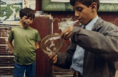 Helen Levitt (American, 1913-2009). <em>Boy with Bubble</em>, 1972. Chromogenic (Ektacolor) photograph, sheet: 14 x 17 in. (35.6 x 43.2 cm). Brooklyn Museum, Purchased with funds given by Richard Menschel, Eileen and Adam Boxer, Dr. Joel E. Hershey, Harry Kahn, Marilynn and Ivan Karp, and Merrill Lynch & Co., Inc., 1990.66.2. © artist or artist's estate (Photo: Brooklyn Museum, 1990.66.2_PS2.jpg)