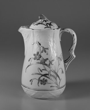 Knowles Taylor and Knowles (1870-1929). <em>Coffee Pot</em>, ca. 1885. Glazed earthenware with gilt decoration, 8 7/8 x 6 1/2 x 5 in. Brooklyn Museum, Gift of Isabel Shults, by exchange, 1990.94a-b. Creative Commons-BY (Photo: Brooklyn Museum, 1990.94a-b_bw.jpg)