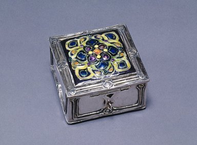 Elizabeth E. Copeland (American, 1866-1957). <em>Box</em>, ca. 1914. Silver, enamel, 2 1/4 x 3 1/8 x 3 1/8 in. (5.7 x 8.0 x 8.0 cm). Brooklyn Museum, Designated Purchase Fund, 1990.96.1. Creative Commons-BY (Photo: Brooklyn Museum, 1990.96.1_SL1.jpg)