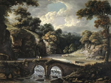 George Willie Beck (American, born England, 1748-1812). <em>Stone Bridge over the Wissahickon</em>, ca. 1800. Opaque watercolor on paper mounted to canvas attached to Masonite and a wooden strainer, 16 1/2 x 22 in. (41.9 x 55.9 cm). Brooklyn Museum, Purchased with funds given by Mr. and Mrs. Leonard L. Milberg, 1991.10.1 (Photo: Brooklyn Museum, 1991.10.1_cropped_SL1.jpg)