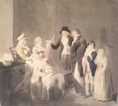 John Rubens Smith (American, 1770-1849). <em>A Conversation Piece</em>, ca. 1796. Watercolor on paper, 9 1/4 x 10 1/4 in. Brooklyn Museum, Purchased with funds given by Mr. and Mrs. Leonard L. Milberg, 1991.10.2 (Photo: Brooklyn Museum, 1991.10.2_transp341.jpg)