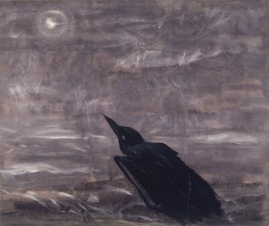 Morris Graves (American, 1910-2001). <em>Moon Mad Crow in the Surf</em>, 1943. Gouache on paper, 23 1/2 x 28 in. Brooklyn Museum, Gift of Mrs. Milton Lowenthal, 1991.109.2. © artist or artist's estate (Photo: Brooklyn Museum, 1991.109.2_transp344.jpg)