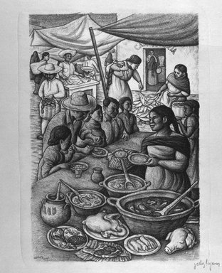 Jesus Ortiz Tajonar (Mexican, 1919-1990). <em>Untitled</em>, n.d. Lithograph on white wove paper, sheet: 22 1/2 x 18 3/4 in. (57.2 x 47.6 cm). Brooklyn Museum, Gift of Michael and Pauline Klasfeld in memory of a cherished friend, Dr. Murray Meyer, 1991.113 (Photo: Brooklyn Museum, 1991.113_bw.jpg)
