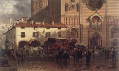 Edward Lamson Henry (American, 1841-1919). <em>The Cathedral of Piacenza</em>, 1868. Oil on panel, 10 13/16 x 18 in. (27.5 x 45.7 cm). Brooklyn Museum, Dick S. Ramsay Fund, 1991.125 (Photo: Brooklyn Museum, 1991.125_transp347.jpg)