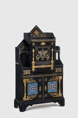 Kimbel and Cabus (1863-1882). <em>Cabinet-Secretary</em>, ca. 1875. Painted cherry, copper, brass, gilding, leather, earthenware, 60 × 35 × 14 in. (152.4 × 88.9 × 35.6 cm). Brooklyn Museum, Bequest of DeLancey Thorn Grant in memory of her mother, Louise Floyd-Jones Thorn, by exchange, 1991.126. Creative Commons-BY (Photo: Gavin Ashworth, 1991.126_GavinAshworth.jpg)