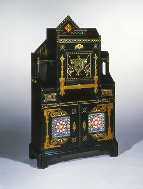 Kimbel and Cabus (1863-1882). <em>Cabinet-Secretary</em>, ca. 1875. Painted cherry, copper, brass, gilding, leather, earthenware, 60 × 35 × 14 in. (152.4 × 88.9 × 35.6 cm). Brooklyn Museum, Bequest of DeLancey Thorn Grant in memory of her mother, Louise Floyd-Jones Thorn, by exchange, 1991.126. Creative Commons-BY (Photo: Brooklyn Museum, 1991.126_IMLS_SL2.jpg)
