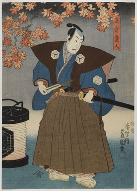 Utagawa Kunisada (Toyokuni III) (Japanese, 1786-1865). <em>Actors Ichimura Uzaemon XII as Akitsushima Kuniemon (right) and Sawamura Chojuro V as Takakura Hayato (left)</em>, 1850, 9th month. Woodblock print, color and ink on paper, a: 13 5/8 x 9 3/4 in. Brooklyn Museum, Gift of Dr. Bertram H. Schaffner in memory of Dr. John P. Spiegel, 1991.129a-b (Photo: Brooklyn Museum, 1991.129a_IMLS_PS4.jpg)