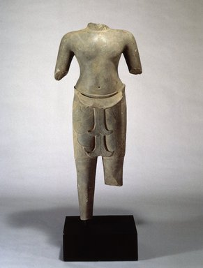 <em>Torso of a Male Divinity</em>, ca. 978-1010. Sandstone, 48 3/4 x 21 1/2 in. (124.0 x 54.5 cm). Brooklyn Museum, Purchase gift of Dr. Bertram H. Schaffner, 1991.131. Creative Commons-BY (Photo: Brooklyn Museum, 1991.131_SL1.jpg)