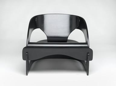 Joe Colombo (Italian, 1930-1971). <em>Armchair (Model 4801/5)</em>, Designed 1965; Manufactured 1965-1971. Bent plywood, paint, gesso, rubber stoppers, 23 1/8 x 27 7/8 x 25 1/8in. (58.7 x 70.8 x 63.8cm). Brooklyn Museum, Designated Purchase Fund, 1991.146. Creative Commons-BY (Photo: Brooklyn Museum, 1991.146_front_PS2.jpg)