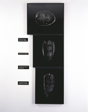 Lorna Simpson (American, born 1960). <em>The Service</em>, 1990. Three black and white gelatin silver photographs and four plastic plaques, Overall: 120 x 55 in. (304.8 x 139.7 cm). Brooklyn Museum, Charles Stewart Smith Memorial Fund and Bequest of Laura L. Barnes, by exchange, 1991.151a-g. © artist or artist's estate (Photo: , 1991.151a-g_SL3.jpg)