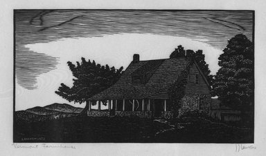 J.J. Lankes (American, 1884-1960). <em>Vermont Farmhouse</em>, 1928. Woodcut on tissue thin wove tissue paper, sheet: 8 3/4 x 13 3/16 in. Brooklyn Museum, Gift of Gertrude W. Dennis, 1991.153.21. © artist or artist's estate (Photo: Brooklyn Museum, 1991.153.21_bw.jpg)