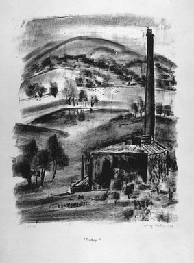 Adolf Arthur Dehn (American, 1895-1968). <em>Factory</em>, 1929. Lithograph on heavy wove paper, Image: 13 9/16 x 10 13/16 in. (34.4 x 27.5 cm). Brooklyn Museum, Gift of Gertrude W. Dennis, 1991.153.3. © artist or artist's estate (Photo: Brooklyn Museum, 1991.153.3_bw.jpg)