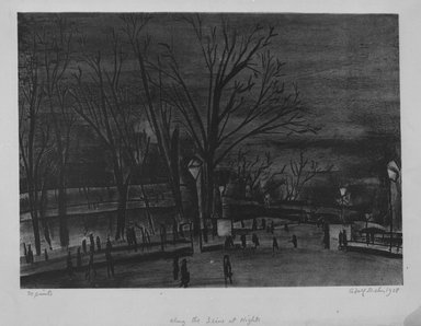 Adolf Arthur Dehn (American, 1895-1968). <em>Along the Seine at Night</em>, 1928. Lithograph chine colle on wove paper, Image: 11 x 15 3/16 in. (27.9 x 38.6 cm). Brooklyn Museum, Gift of Gertrude W. Dennis, 1991.153.5. © artist or artist's estate (Photo: Brooklyn Museum, 1991.153.5_bw.jpg)