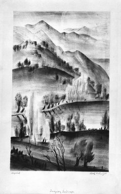Adolf Arthur Dehn (American, 1895-1968). <em>Imaginary Landscape</em>, 1928. Lithograph chine colle on heavy wove paper, Image: 17 5/16 x 10 11/16 in. (43.9 x 27.1 cm). Brooklyn Museum, Gift of Gertrude W. Dennis, 1991.153.7. © artist or artist's estate (Photo: Brooklyn Museum, 1991.153.7_bw.jpg)