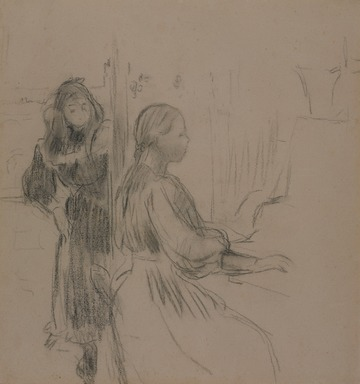 Berthe Morisot (French, 1841-1895). <em>Study for La Musique</em>, 1893. Charcoal on laid paper, 17 5/16 × 16 1/16 in. (44 × 40.8 cm). Brooklyn Museum, Gift of Mrs. Carl L. Selden, 1991.160 (Photo: , 1991.160_PS9.jpg)