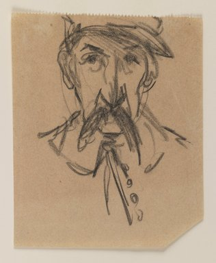 Attributed to Joseph Stella (American, born Italy, 1877-1946). <em>Man with Mustache</em>, n.d. Black chalk on paper, Sheet: 5 x 4 1/16 in. (12.7 x 10.3 cm). Brooklyn Museum, Dick S. Ramsay Fund, 1991.162.3 (Photo: Brooklyn Museum, 1991.162.3_IMLS_PS3.jpg)