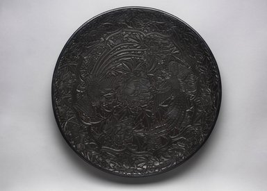 <em>Large Circular Tray with Design of Two Birds</em>, 16th century. Wood, black lacquer, 2 3/4 x 17 1/2 in. (7 x 44.5 cm). Brooklyn Museum, Gift of Mrs. Nathan L. Burnett, 1991.177. Creative Commons-BY (Photo: Brooklyn Museum, 1991.177_PS11.jpg)