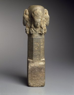<em>Caturmukhalinga</em>, 11th-12th century. Black schist, height: 13 5/8 in. (34.7 cm). Brooklyn Museum, Gift of Georgia and Michael de Havenon, 1991.178.2. Creative Commons-BY (Photo: Brooklyn Museum, 1991.178.2_SL3.jpg)