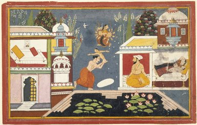 Indian. <em>Episode Surrounding the Birth of Krishna, Page from a Dispersed Bhagavata Purana Series</em>, late 17th-early 18th century. Opaque watercolor on paper, sheet: 10 1/8 x 15 15/16 in.  (25.7 x 40.5 cm). Brooklyn Museum, Gift of Emily Manheim Goldman, 1991.180.10 (Photo: Brooklyn Museum, 1991.180.10_IMLS_SL2.jpg)