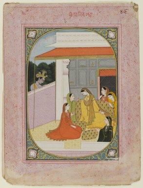 Indian. <em>Kriya Vidagdha:  Nayika well-versed in love</em>, ca. 1825. Opaque watercolor and gold on paper , sheet: 11 1/2 x 8 1/2 in.  (29.2 x 21.6 cm). Brooklyn Museum, Gift of Emily Manheim Goldman, 1991.180.13 (Photo: Brooklyn Museum, 1991.180.13_recto_IMLS_PS4.jpg)