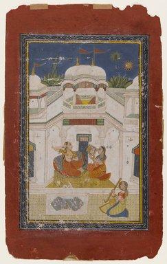 Indian. <em>Bilavala Ragini</em>, ca. 1770-1790. Opaque watercolor and gold on paper, sheet: 12 7/8 x 7 7/8 in.  (32.7 x 20.0 cm). Brooklyn Museum, Gift of Emily Manheim Goldman, 1991.180.8 (Photo: Brooklyn Museum, 1991.180.8_IMLS_PS4.jpg)
