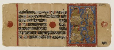 Indian. <em>Kalaka with Shakra Disguised and Revealed, Leaf from a Dispersed Jain Manuscript of the Kalakacharya-katha</em>, ca. 15th century. Opaque watercolor and gold on paper, sheet: 4 1/4 x 10 1/4 in.  (10.8 x 26.0 cm). Brooklyn Museum, Gift of Martha M. Green, 1991.181.14 (Photo: Brooklyn Museum, 1991.181.14_IMLS_PS4.jpg)