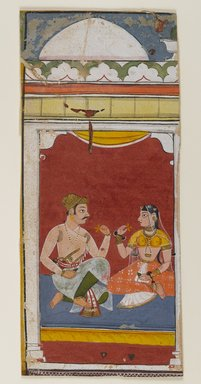 Attributed to Sahab-Ud-Din. <em>Page from a Ragamala Series</em>, 1628. Opaque watercolors on paper, 8 1/8 x 3 5/8 in. (20.6 x 9.2 cm). Brooklyn Museum, Gift of Martha M. Green, 1991.181.19 (Photo: Brooklyn Museum, 1991.181.19_IMLS_PS4.jpg)