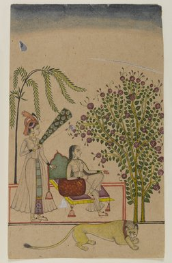 Indian. <em>Seated Princess with Attendant and Lion</em>, ca. 1750. Opaque watercolors on paper, sheet: 8 15/16 x 5 9/16 in.  (22.7 x 14.1 cm). Brooklyn Museum, Gift of Martha M. Green, 1991.181.4 (Photo: Brooklyn Museum, 1991.181.4_IMLS_PS4.jpg)
