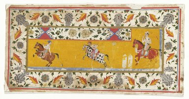 Indian. <em>Section of a border with Polo Players</em>, first quarter of 17th century. Opaque watercolor and gold on paper, sheet: 6 1/2 x 12 3/4 in.  (16.5 x 32.4 cm). Brooklyn Museum, Gift of Martha M. Green, 1991.181.5 (Photo: Brooklyn Museum, 1991.181.5_IMLS_SL2.jpg)