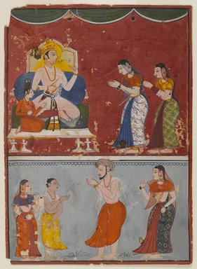 Indian. <em>Page from an Unidentified Series</em>, ca. 1650. Opaque watercolor on paper, sheet: 6 7/8 x 5 in.  (17.9 x 12.7 cm). Brooklyn Museum, Gift of Martha M. Green, 1991.181.7 (Photo: Brooklyn Museum, 1991.181.7_IMLS_PS4.jpg)