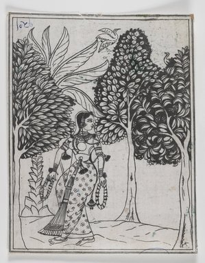 Mughal. <em>Kamod Ragini</em>, 1605-1610. Ink on paper, 7 5/8 x 6 1/8 in. Brooklyn Museum, Gift of Mr. and Mrs. Peter P. Pessutti, 1991.184.24 (Photo: Brooklyn Museum, 1991.184.24_IMLS_PS4.jpg)