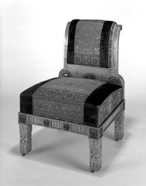 Unknown. <em>Side Chair (Modern Gothic style)</em>, ca. 1880. Oak, walnut, original upholstery, 37 1/2 x 26 x 28 5/8 in. (95.3 x 66 x 72.7 cm). Brooklyn Museum, Gift of Mr. and Mrs. Daniel L. Silberberg, by exchange, 1991.202. Creative Commons-BY (Photo: Brooklyn Museum, 1991.202_bw.jpg)