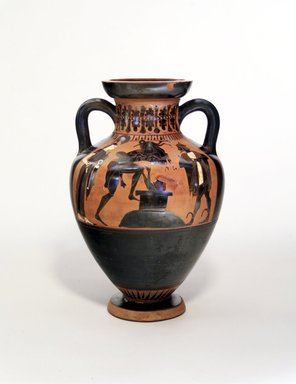 Swing Painter. <em>Black-figure Amphora of Panathenaic Shape</em>, ca. 540 B.C.E. Clay, slip, 15 3/4 x 10 11/16in. (40 x 27.2cm). Brooklyn Museum, Gift of Mr. and Mrs. Paul E. Manheim, 1991.204.1. Creative Commons-BY (Photo: Brooklyn Museum, 1991.204.1_view1.jpg)