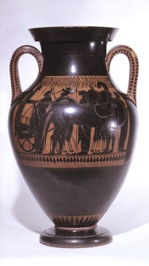 In the manner of Lysippides Painter. <em>Black-Figure Amphora</em>, ca. 530 B.C.E. Clay, slip, Height: 22 1/4 in. (56.5 cm). Brooklyn Museum, Gift of Mr. and Mrs. Paul E. Manheim, 1991.204.2. Creative Commons-BY (Photo: Brooklyn Museum, 1991.204.2.jpg)