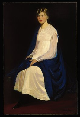 George Benjamin Luks (American, 1867-1933). <em>Portrait of a Young Girl (Antoinette Kraushaar)</em>, 1917. Oil on canvas, 60 1/8 x 40 1/16 in. (152.7 x 101.7 cm). Brooklyn Museum, Gift of Antoinette M. Kraushaar, 1991.205 (Photo: Brooklyn Museum, 1991.205_SL1.jpg)