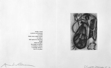 Elizabeth Murray (American, 1940-2007). <em>Page from Her Story</em>, 1988-1990. Etching on photo offset lithograph on paper, sheet: 11 3/8 x 17 3/4 in. (28.9 x 45.1 cm). Brooklyn Museum, A. Augustus Healy Fund, 1991.21.12. © artist or artist's estate (Photo: Brooklyn Museum, 1991.21.12_bw.jpg)