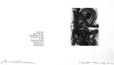 Elizabeth Murray (American, 1940-2007). <em>Page from Her Story</em>, 1988-1990. Etching on photo offset lithograph on paper, sheet: 11 3/8 x 17 3/4 in. (28.9 x 45.1 cm). Brooklyn Museum, A. Augustus Healy Fund, 1991.21.13. © artist or artist's estate (Photo: Brooklyn Museum, 1991.21.13_bw.jpg)