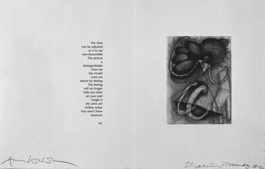 Elizabeth Murray (American, 1940-2007). <em>Page from Her Story</em>, 1988-1990. Etching on photo offset lithograph on paper, sheet: 11 3/8 x 17 3/4 in. (28.9 x 45.1 cm). Brooklyn Museum, A. Augustus Healy Fund, 1991.21.14. © artist or artist's estate (Photo: Brooklyn Museum, 1991.21.14_bw.jpg)