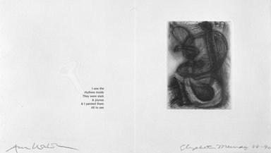 Elizabeth Murray (American, 1940-2007). <em>Page from Her Story</em>, 1988-1990. Etching on photo offset lithograph on paper, sheet: 11 3/8 x 17 3/4 in. (28.9 x 45.1 cm). Brooklyn Museum, A. Augustus Healy Fund, 1991.21.15. © artist or artist's estate (Photo: Brooklyn Museum, 1991.21.15_bw.jpg)