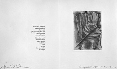 Elizabeth Murray (American, 1940-2007). <em>Page from Her Story</em>, 1988-1990. Etching on photo offset lithograph on paper, sheet: 11 3/8 x 17 3/4 in. (28.9 x 45.1 cm). Brooklyn Museum, A. Augustus Healy Fund, 1991.21.4. © artist or artist's estate (Photo: Brooklyn Museum, 1991.21.4_bw.jpg)