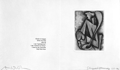 Elizabeth Murray (American, 1940-2007). <em>Page from Her Story</em>, 1988-1990. Etching on photo offset lithograph on paper, sheet: 11 3/8 x 17 3/4 in. (28.9 x 45.1 cm). Brooklyn Museum, A. Augustus Healy Fund, 1991.21.5. © artist or artist's estate (Photo: Brooklyn Museum, 1991.21.5_bw.jpg)