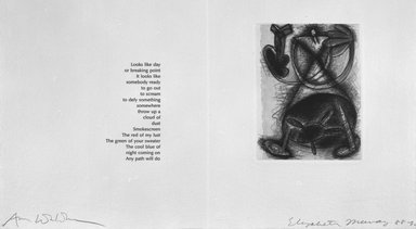 Elizabeth Murray (American, 1940-2007). <em>Page from Her Story</em>, 1988-1990. Etching on photo offset lithograph on paper, sheet: 11 3/8 x 17 3/4 in. (28.9 x 45.1 cm). Brooklyn Museum, A. Augustus Healy Fund, 1991.21.7. © artist or artist's estate (Photo: Brooklyn Museum, 1991.21.7_bw.jpg)